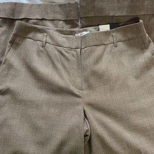 LOFT Pants - Loft Julie flare brown houndstooth cuffed trouser